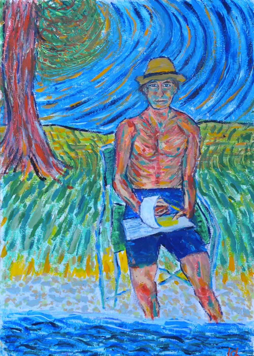 Autoportrait, St Prex. Huile et craie pastel à la cire sur papier, 30x21, 2018