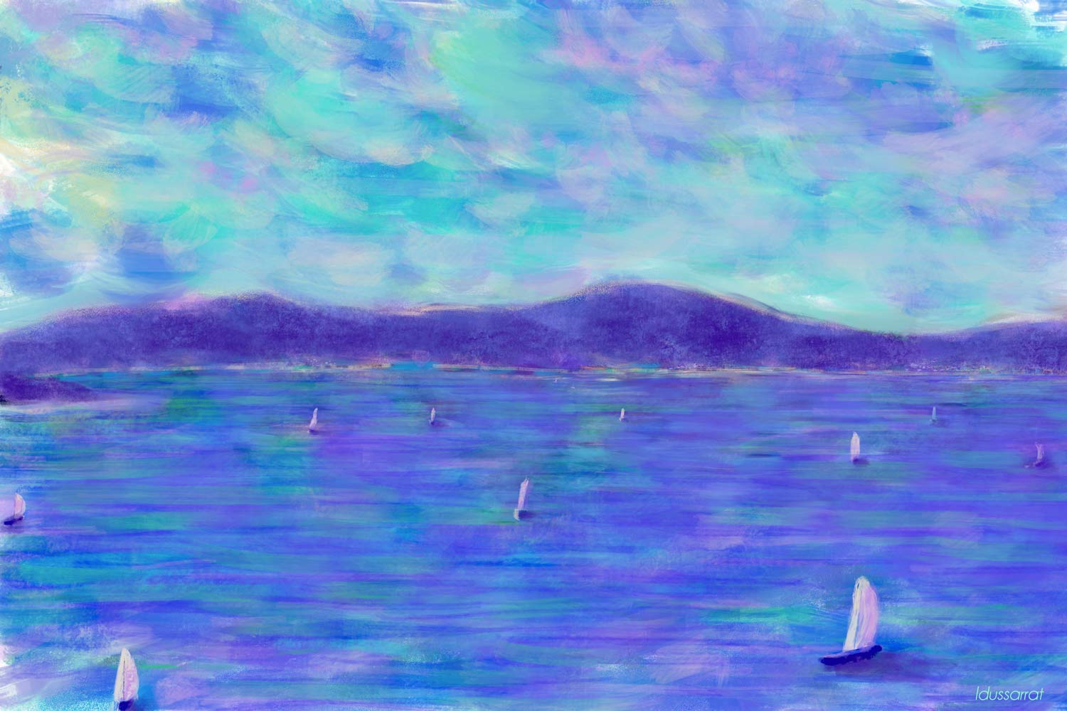 Lake Geneva, from Thonon-les-Bains. Digital painting, 38x57, 2018