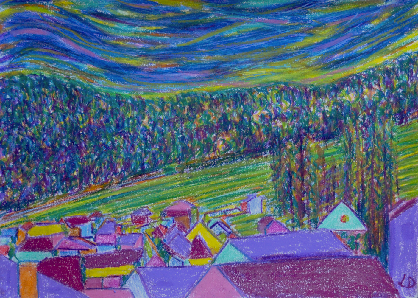 Les toits, Penthalaz no.2. Mixed media sur papier, 21x30, 2019