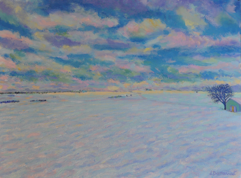 Champs en hiver, Penthalaz, no.3. Huile sur papier. 56x76, 2019