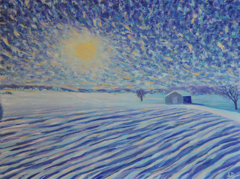 Champs en hiver, Penthalaz, no.4. Huile sur papier. 56x76, 2019