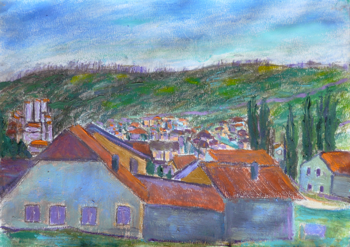 Les toits, Penthalaz, no. 4. Mixed media sur papier, 21×30, 2019