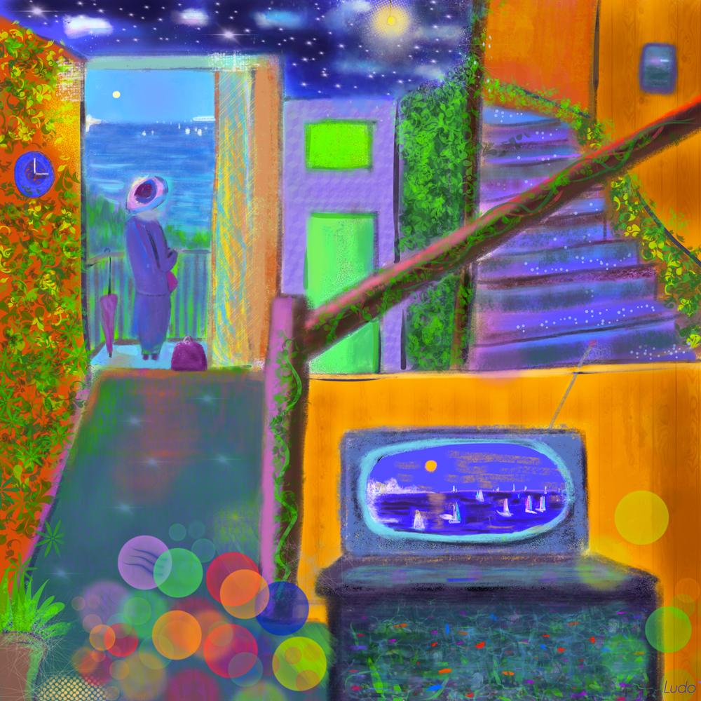 Madame rêve. Peinture digitale. 57x57, 2019