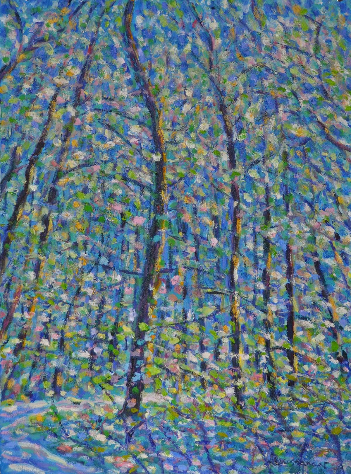 Le bois du Sépey no. 11. Huile sur papier, 75x60, 2019