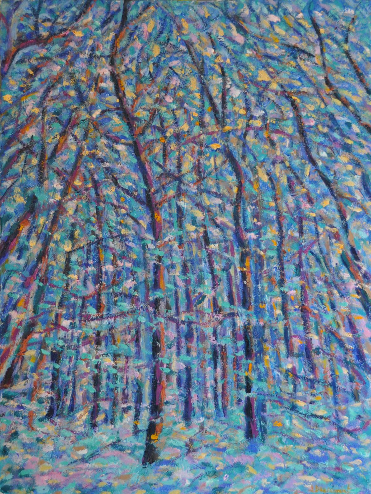 Le bois du Sépey no. 10. Huile sur papier, 75x60, 2019