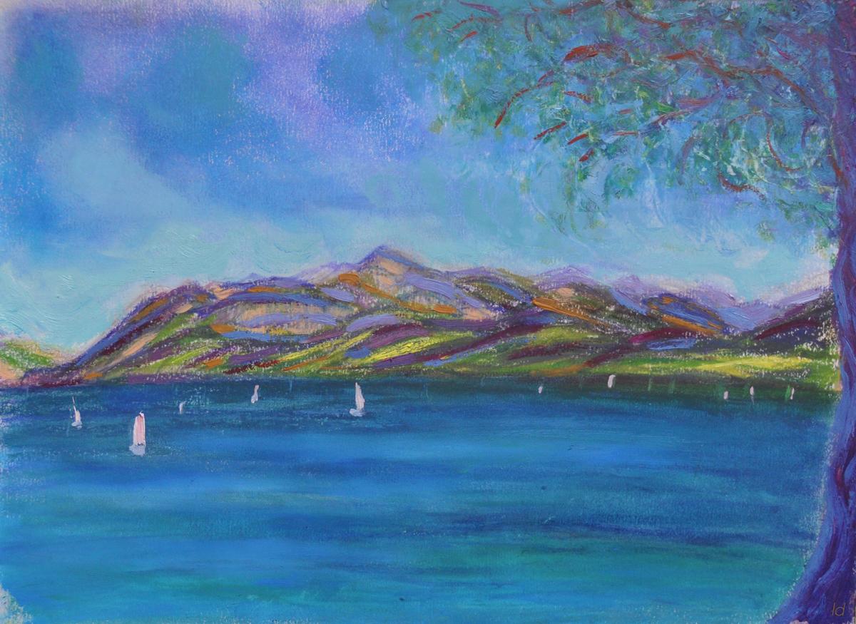 Lac Léman, St Prex, 2. Cire et huile sur papier, 21x30, 2019