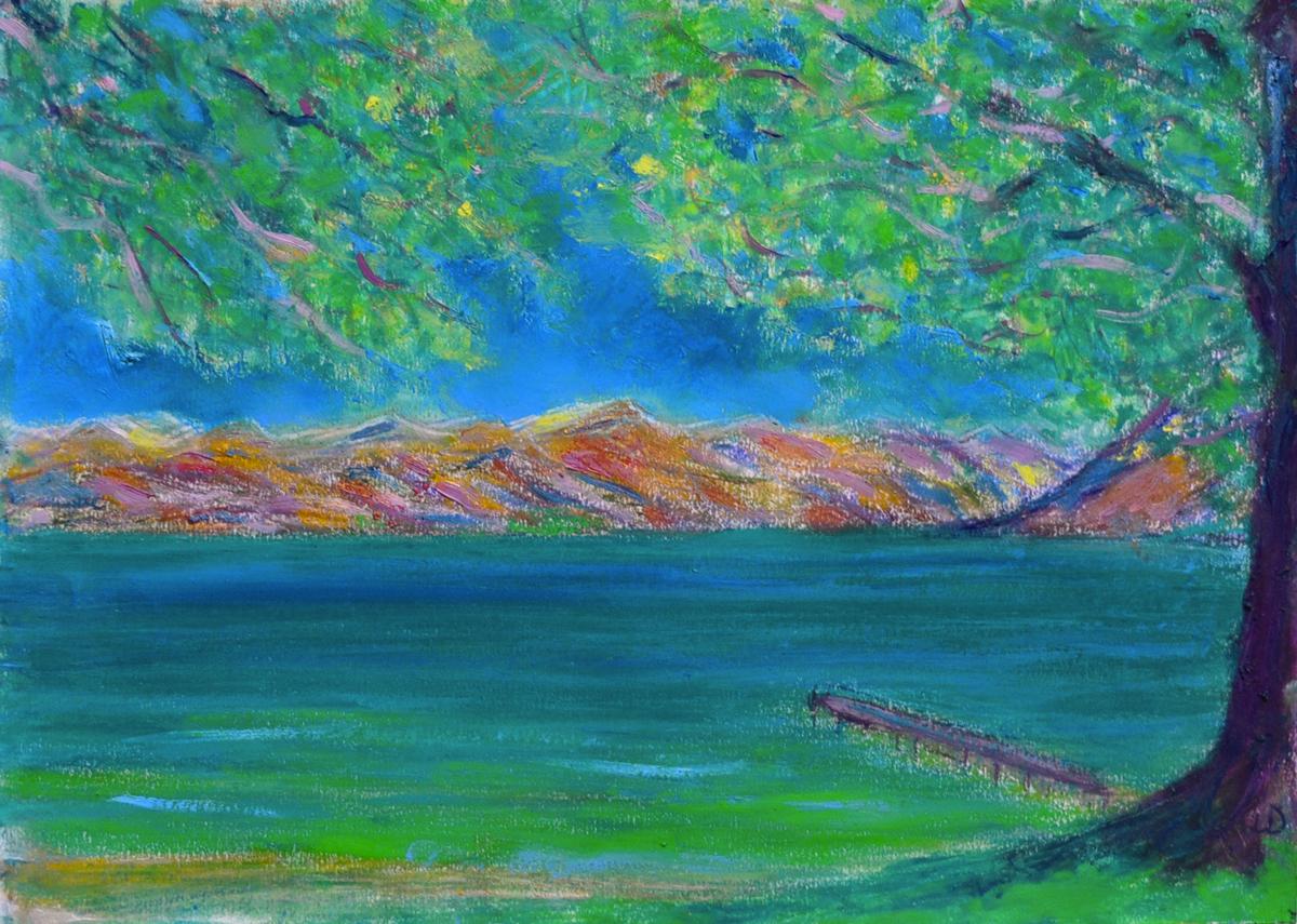 Lac Léman, St Prex, 1. Cire et huile sur papier, 21x30, 2019