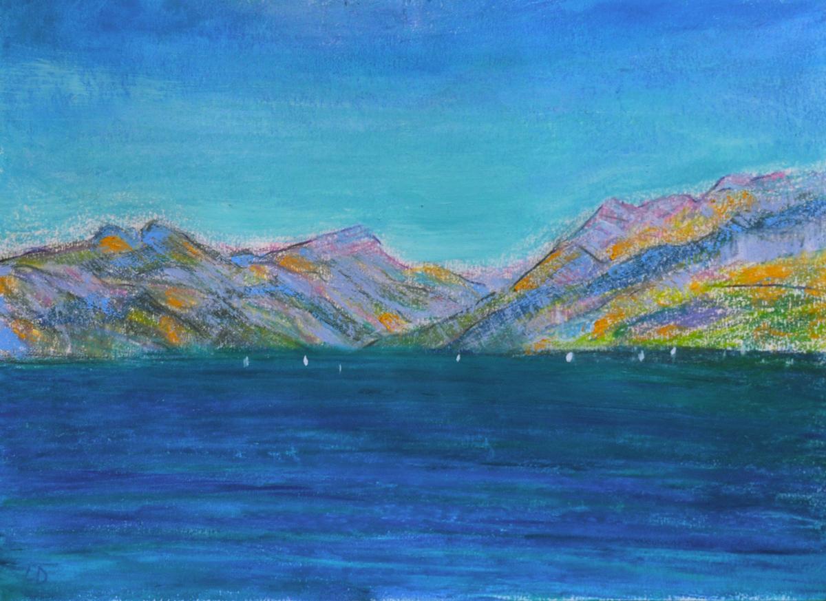 Lac Léman, St Prex no. 3. Cire et huile sur papier, 21x30, 2019