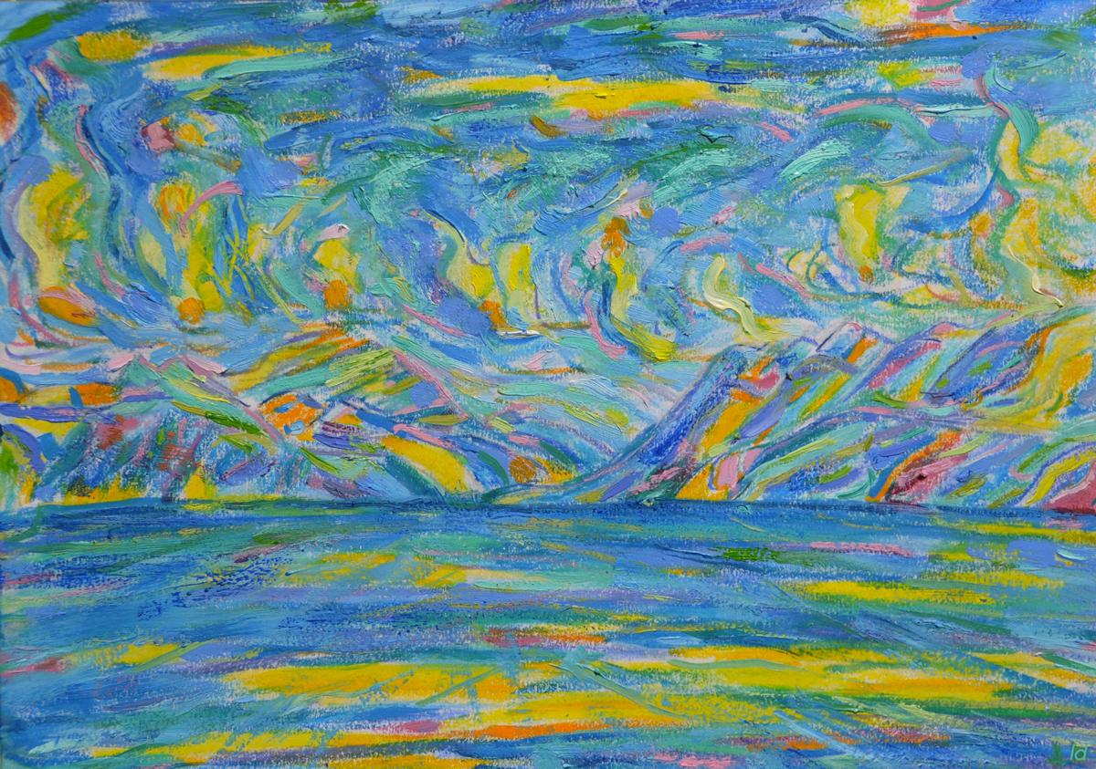 Lac Léman, St Prex, 4. Cire et huile sur papier, 21x30, 2019