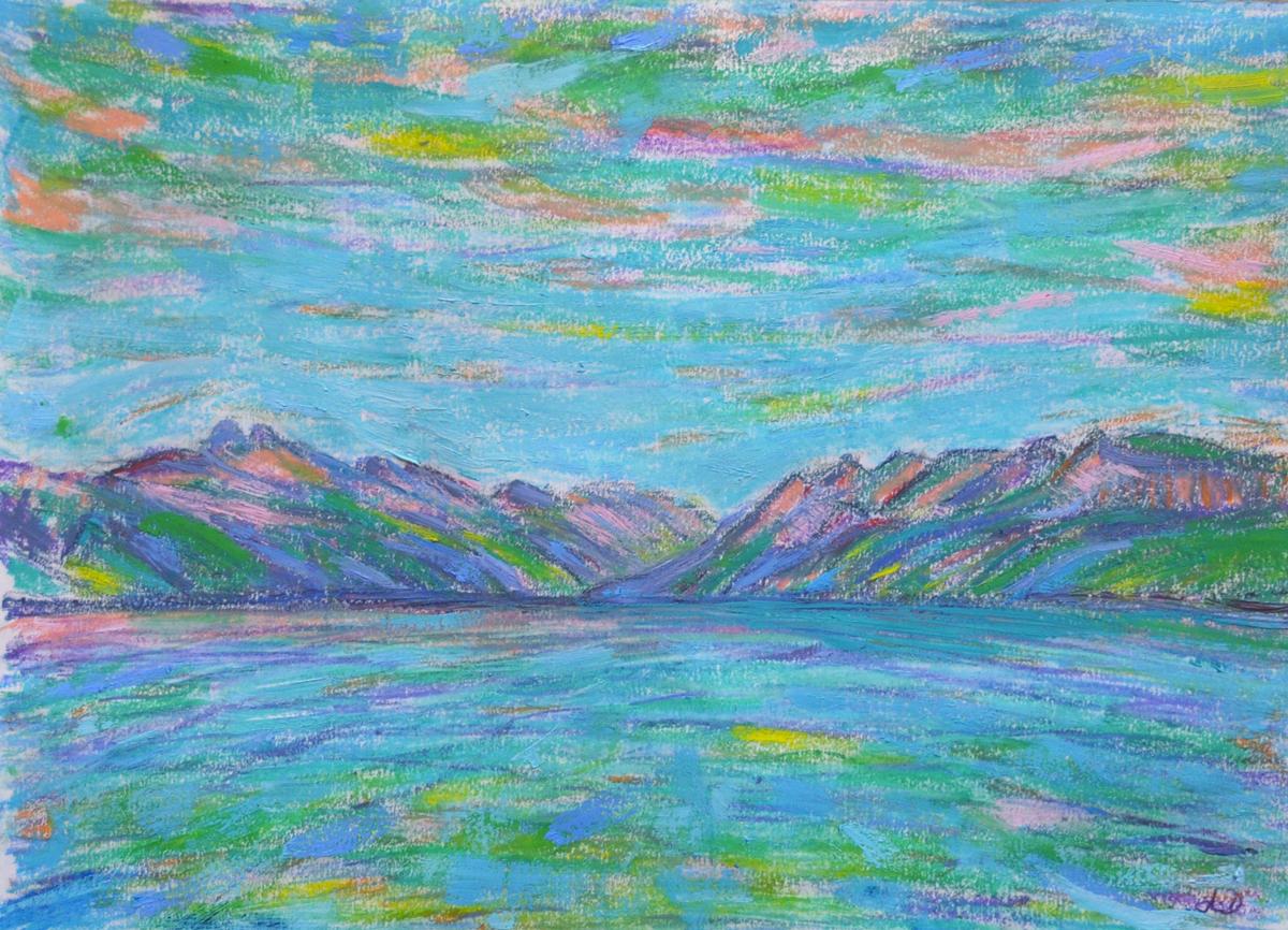 Lac Léman, St Prex no. 7. Cire et huile sur papier, 21x30, 2019