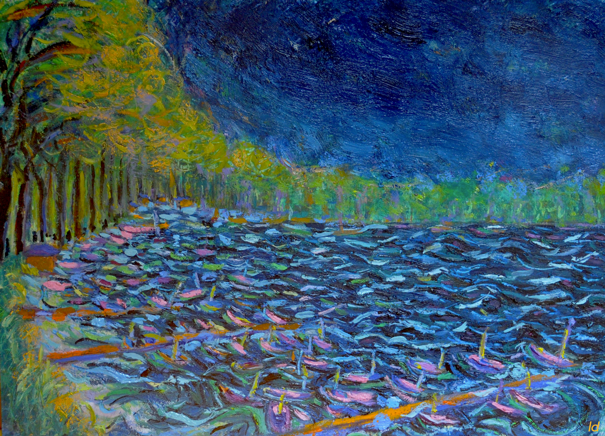 Lac Léman, St Prex no. 5. Cire et huile sur papier, 21x30, 2019