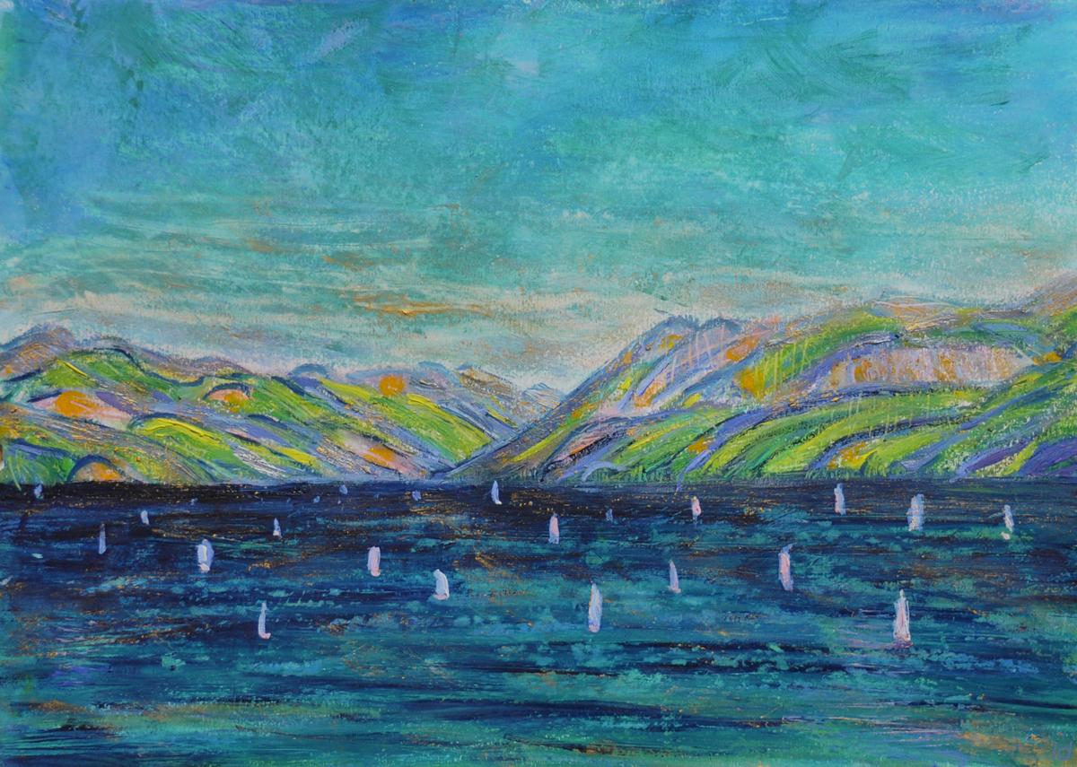 Lac Léman, St Prex, 6. Cire et huile sur papier, 21x30, 2019