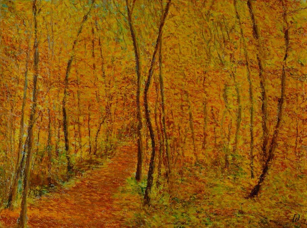 Forêt, la Lignière, no.2. Pastel à l'huile sur papier, 75x60, 2016