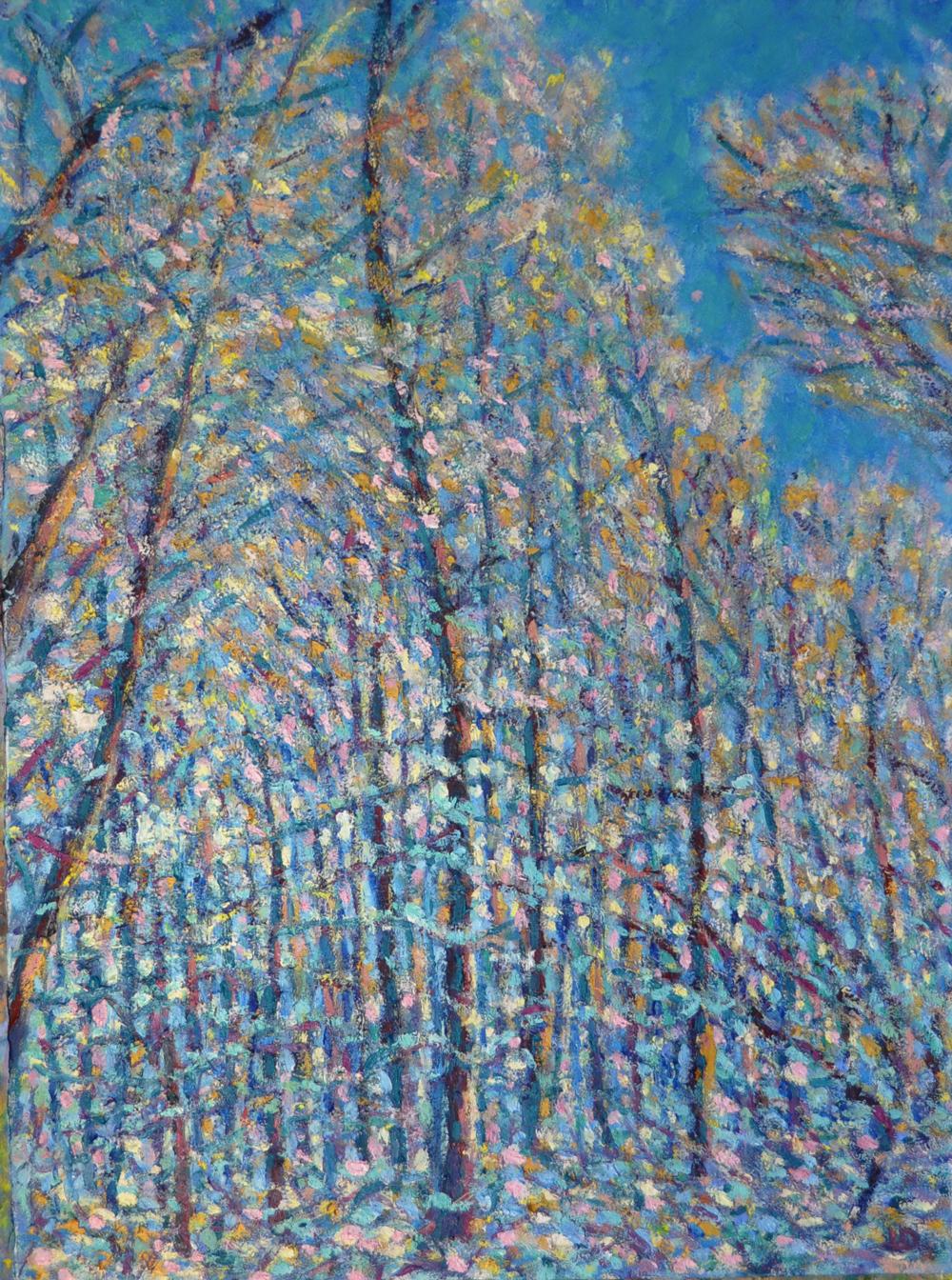 Le bois du Sépey no.12. Huile sur papier, 75x60, 2019