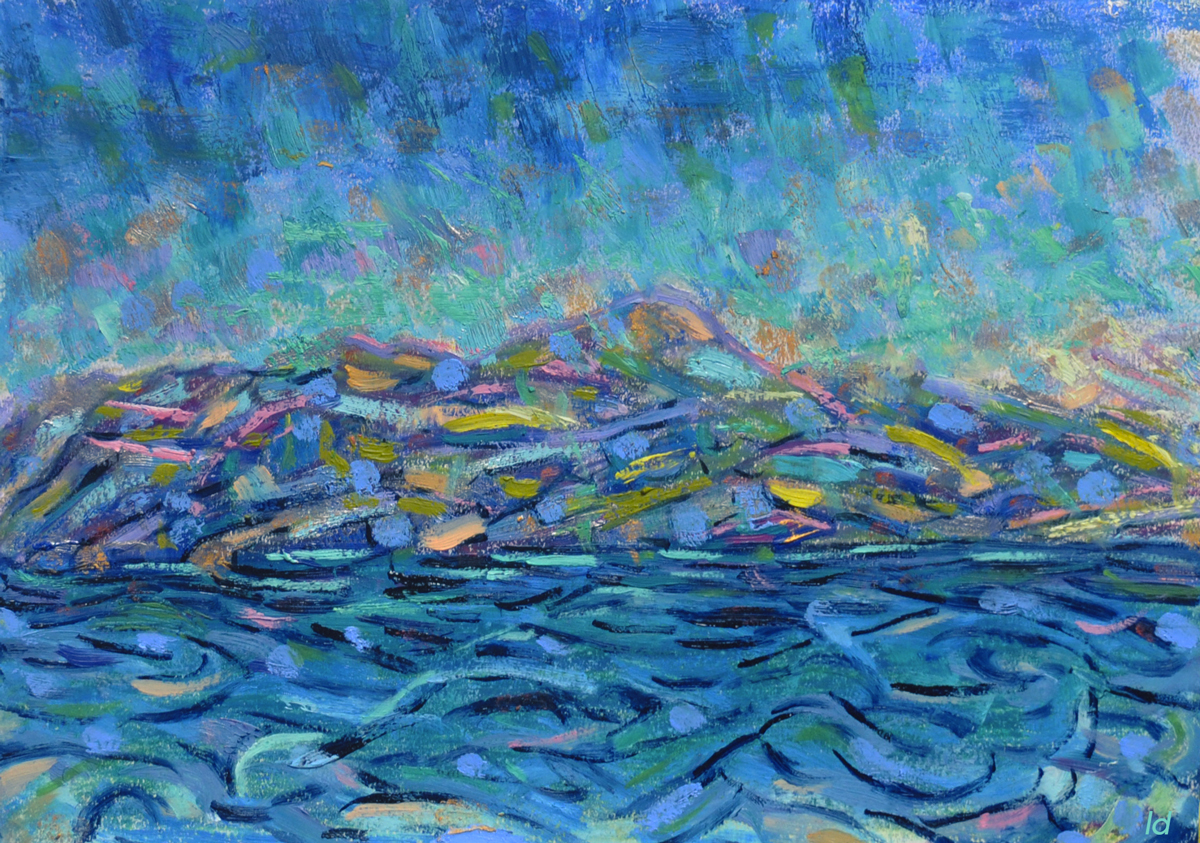 Lac Léman, St Prex no. 9. Cire et huile sur papier, 21x30, 2019