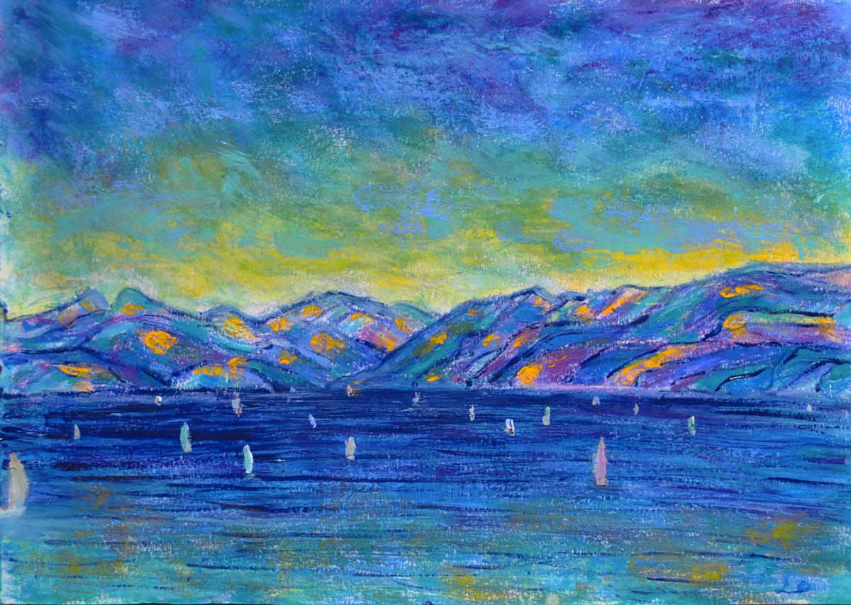 Lac Léman, St Prex, 8. Cire et huile sur papier, 21x30, 2019
