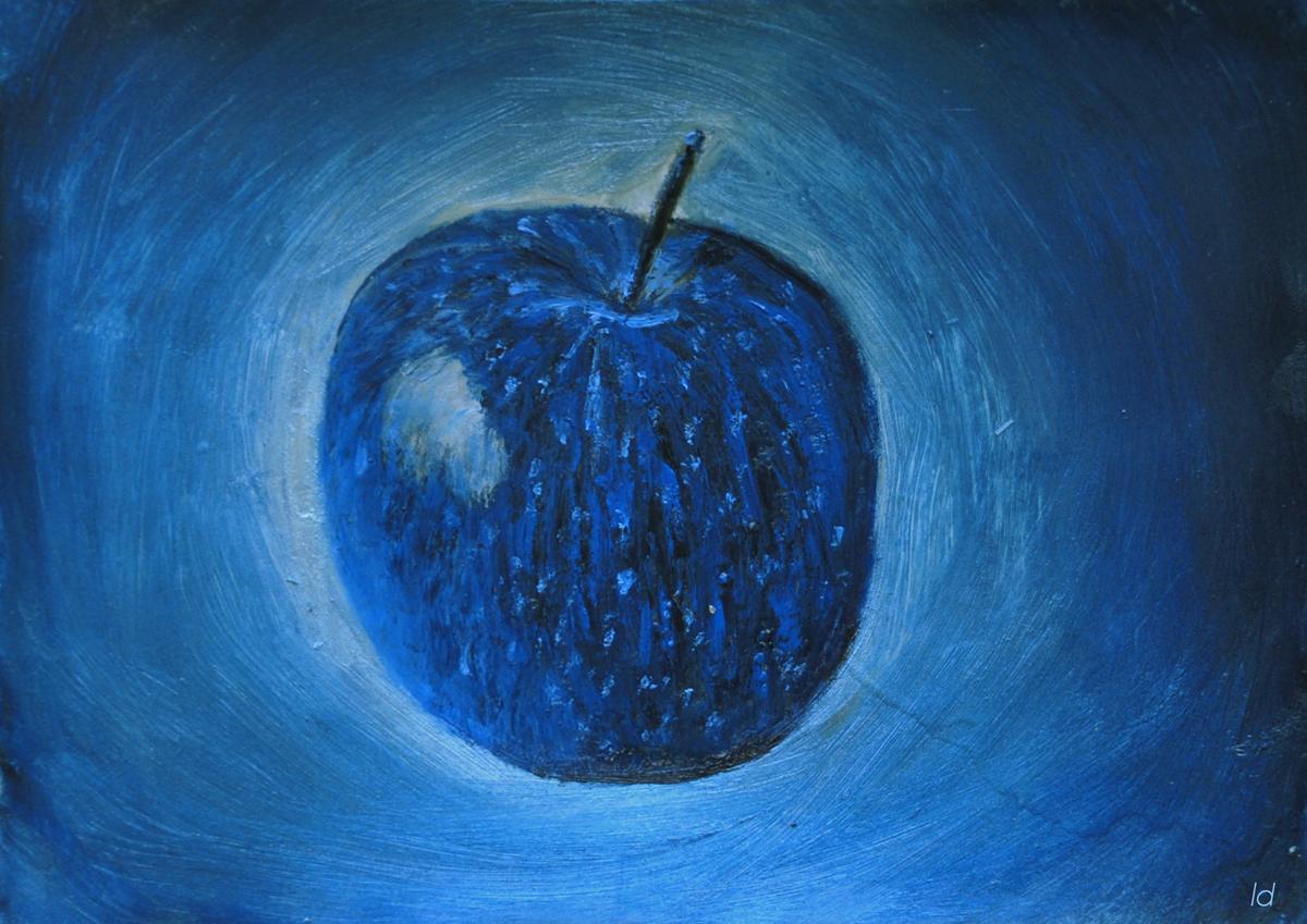 Pomme bleue. Pastel à la cire sur papier, 21x30, 2019