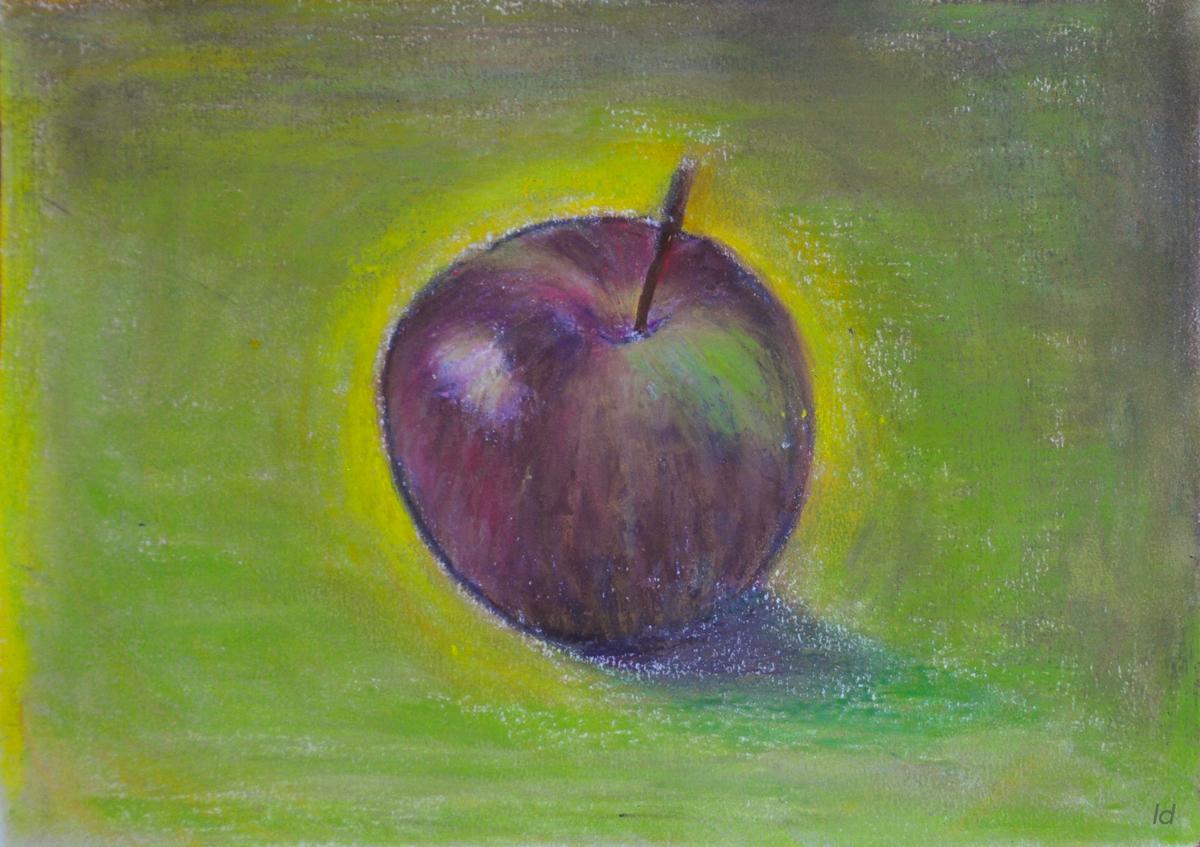 Pomme no. 2. Pastel à la cire sur papier, 21x30, 2019