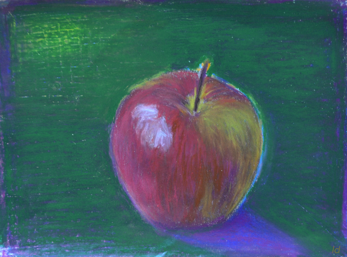 Pomme no. 1. Pastel à la cire sur papier, 21x30, 2019
