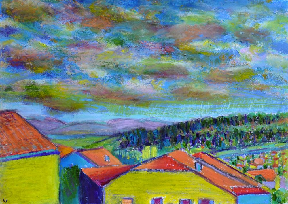 Les toits, Penthalaz, 3. Mixed media sur papier, 21×30, 2019