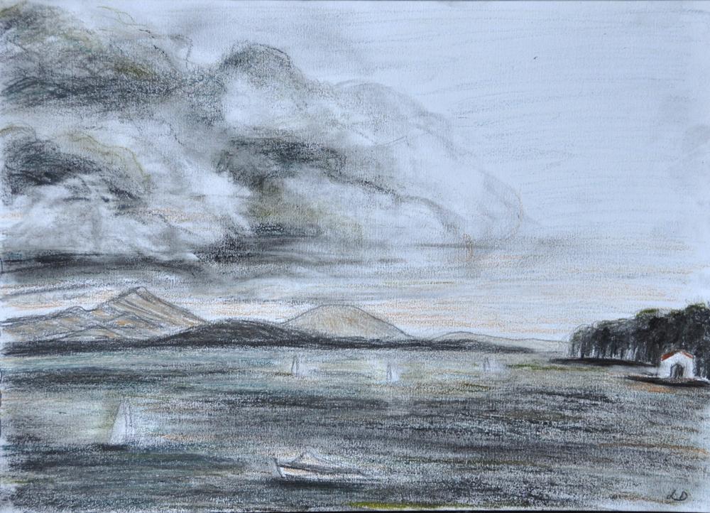 Lac Léman, St Prex. Crayon sur papier, 21x30, 2019