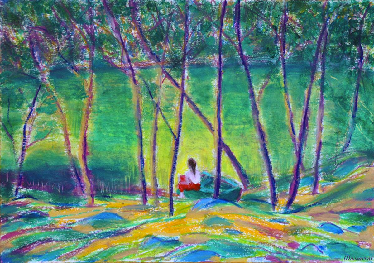 Jeune fille au bord de l'étang, Salernes. Mixed media sur papier. 21x30, 2019