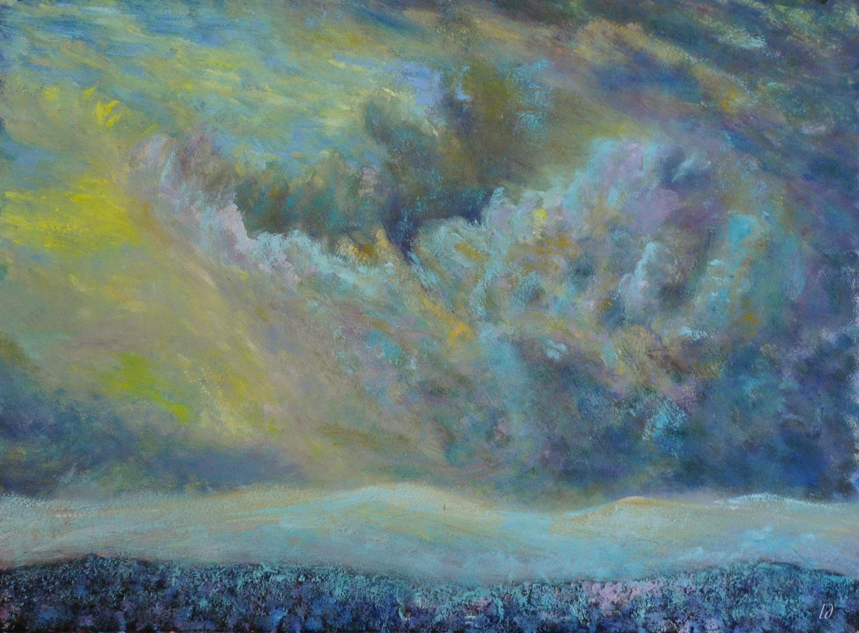 Tempête au-dessus du Jura. Huile sur papier, 56x76, 2019