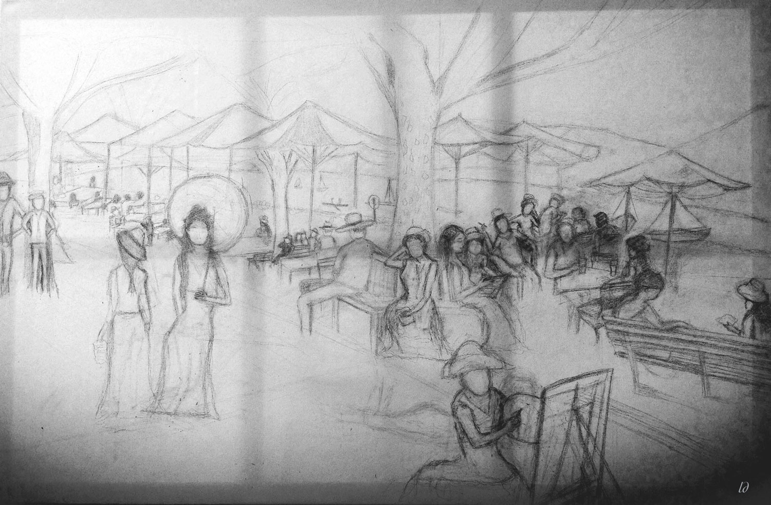 The farewell letters, Zurich. Crayon sur toile. 80x120, 2013