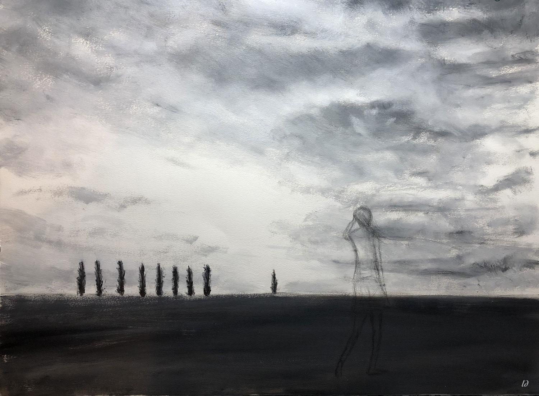 Les peupliers, esquisse. Huile sur papier, 56x76, 2019