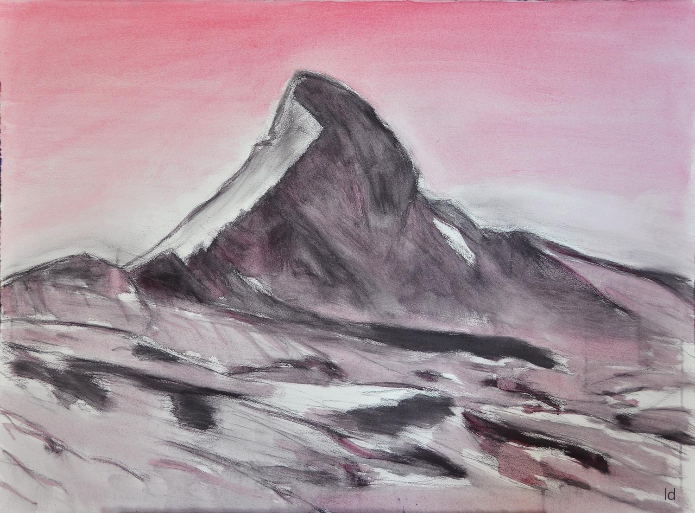 Cervin, face nord. Huile et crayon sur papier, 56x76, 2020