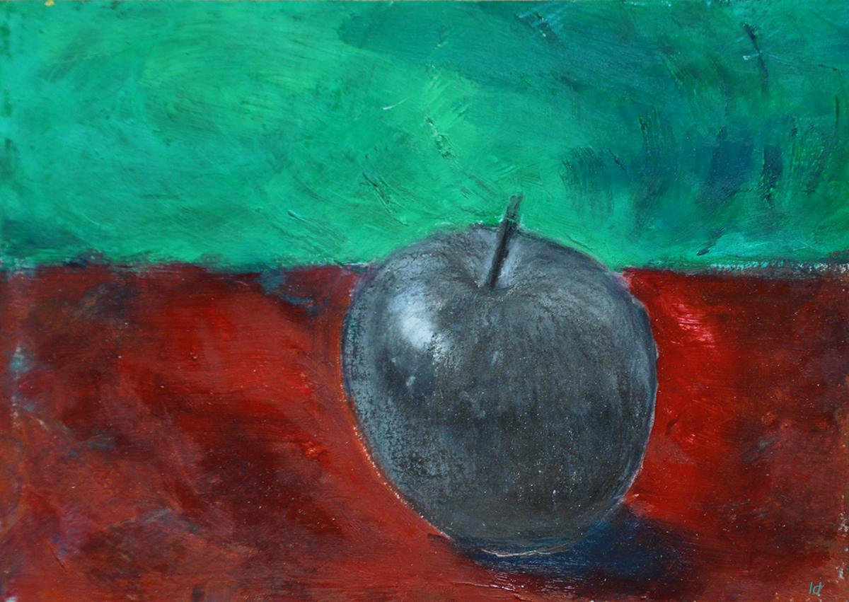 Pomme, 4. Crayon et huile sur papier, 15x20, 2019