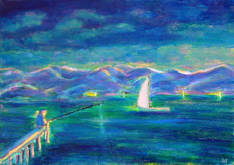 Lac Léman, St Prex no. 11. Cire et huile sur papier, 21x30, 2020