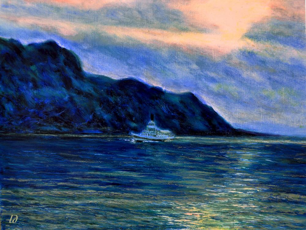 Lac Léman, Montreux, no. 2. Pastel à l'huile sur papier, 42x56, 2016