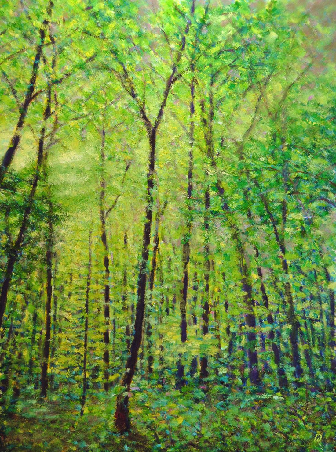 Le bois du Sépey no.13. Huile sur papier, 75x60, 2020