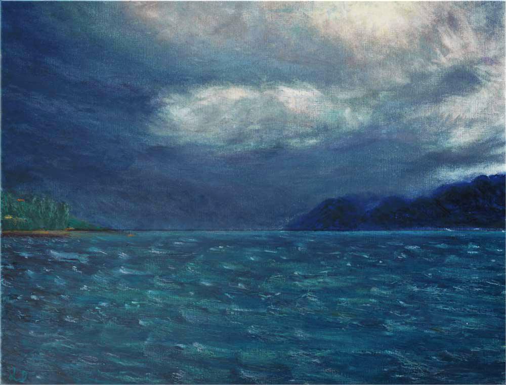 Avant l'orage, Lutry. Pastel à l'huile sur papier, 50x65, 2015
