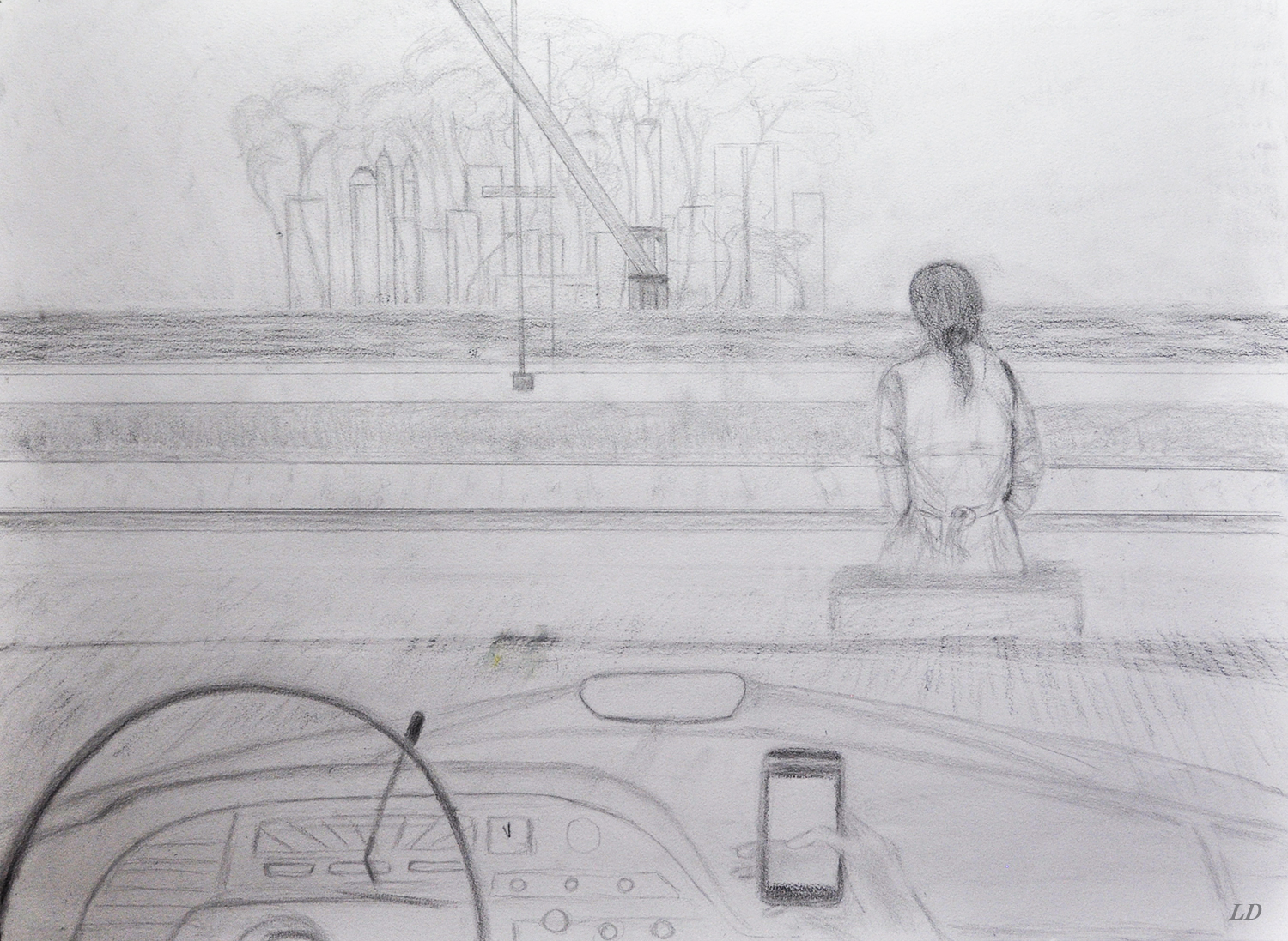 Behind the wheel. Crayon sur papier, 56 x76, 2020