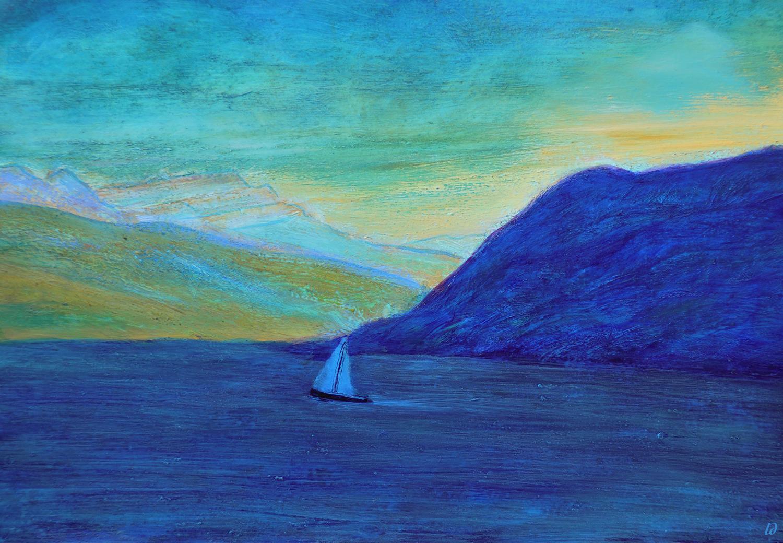 Lac Léman, St Prex no. 12. Cire et huile sur papier, 21x30, 2020