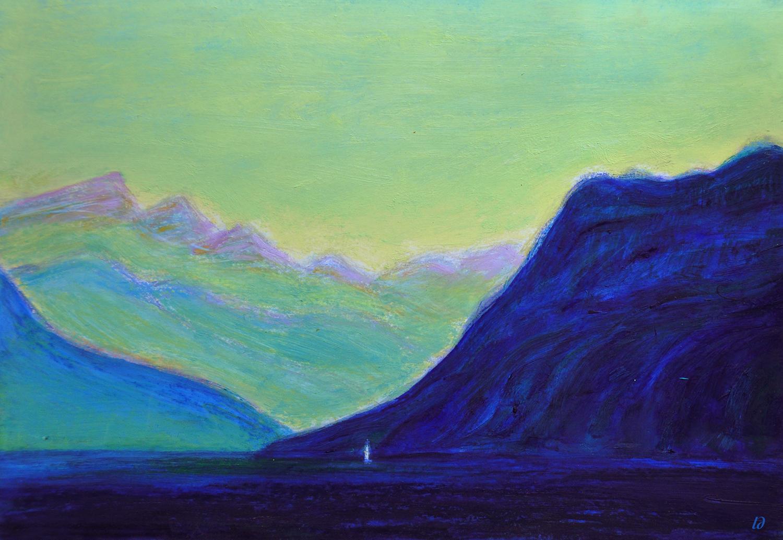 Lac Léman, St Prex no. 13. Cire et huile sur papier, 21x30, 2020