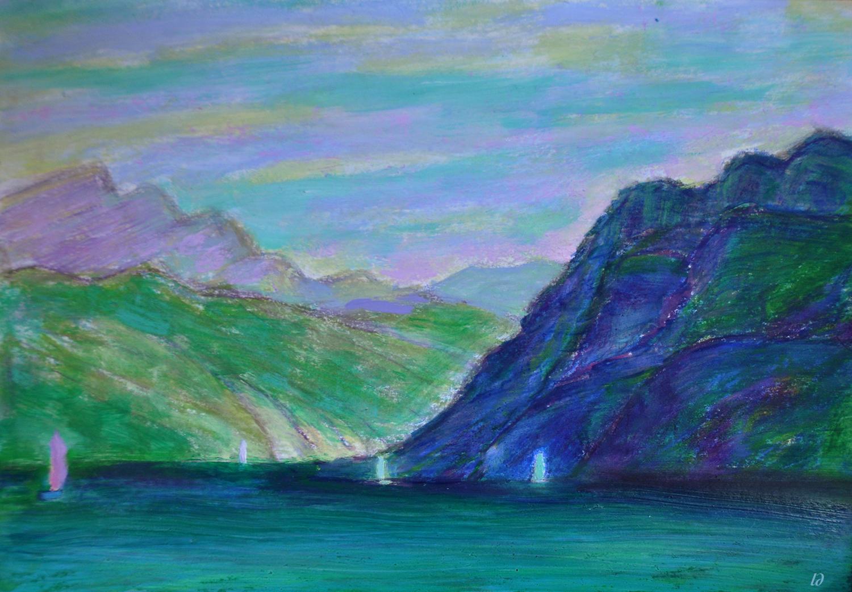 Lac Léman, St Prex no. 14. Cire et huile sur papier, 21x30, 2020