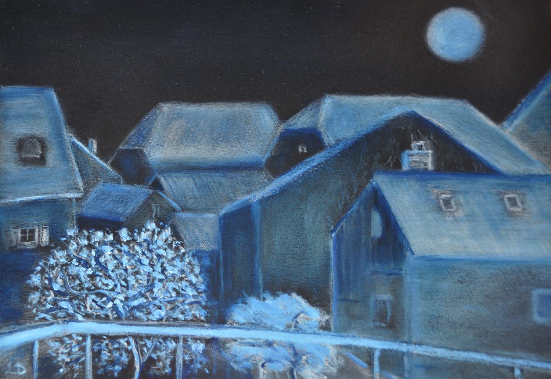 Les toits, Penthalaz, no. 15. Huile sur papier, 21x30, 2020