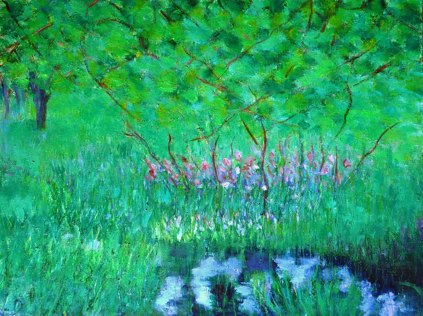 Mai au bord de l'étang. Huile sur papier, 40x50, 2020