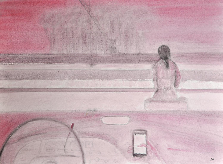 Behind the wheel. Huile et crayon sur papier, 56x76, 2020