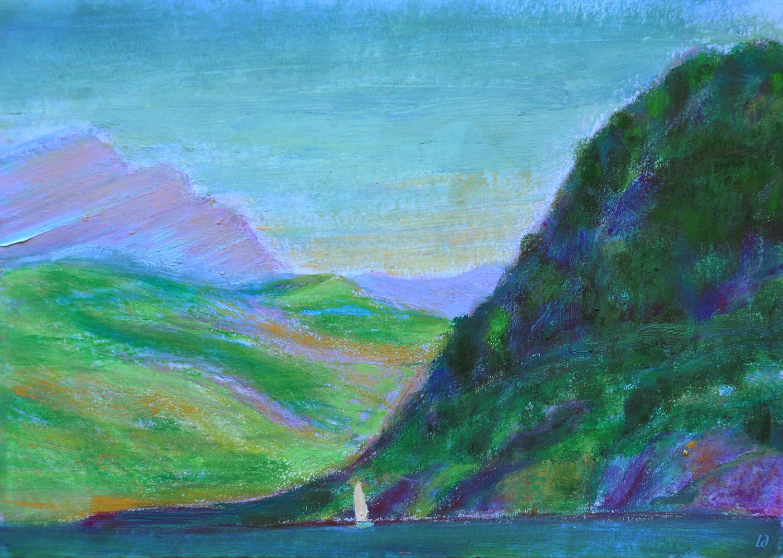 Lac Léman, St Prex, 15. Cire et huile sur papier, 21x30, 2020