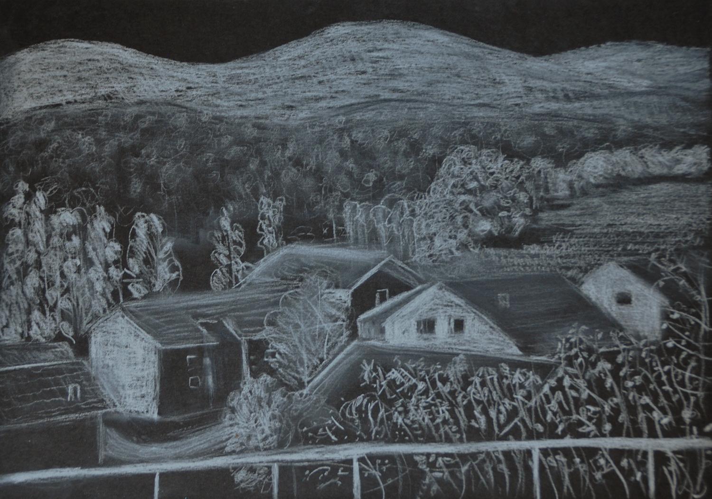 Les toits, Penthalaz, no. 14. Crayon sur papier, 21x30, 2020