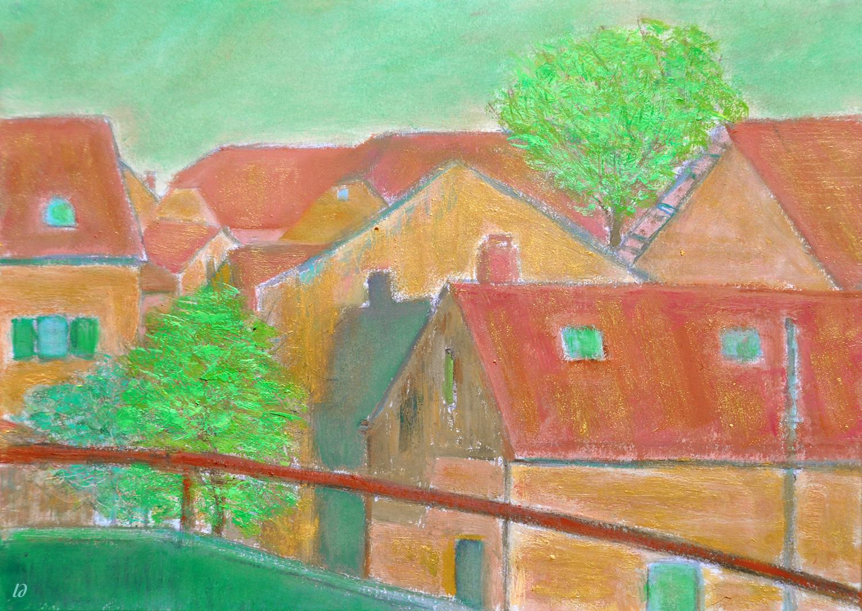 Les toits, Penthalaz, no. 16. Huile sur papier, 21x30, 2020