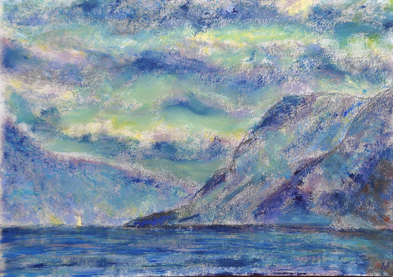 Lac Léman, Morges. Crayon et huile sur papier, 21x30, 2020
