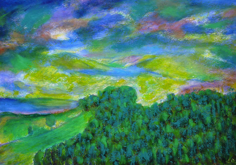 La colline, Penthalaz. Mixed media sur papier, 29x42, 2020