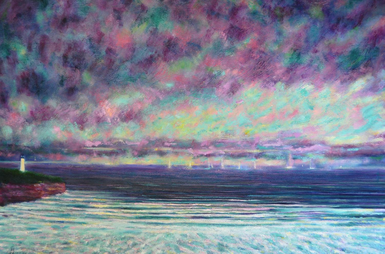 Le phare. Huile sur toile, 80x120, 2020
