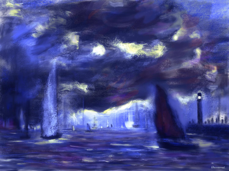 Marine, peinture digitale. 141x105, 2020. (d'après Monet)