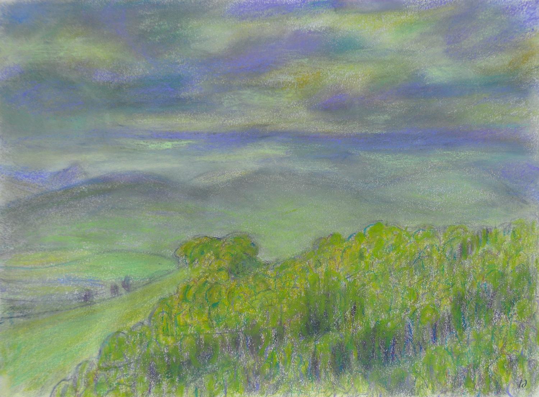 La colline, Penthalaz. Dessin sur papier, 21x29, 2020